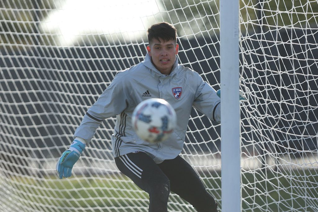 Jesse Gonzalez, goalkeeper for FC Dallas, during a training session in Frisco on October 31st, 2017.