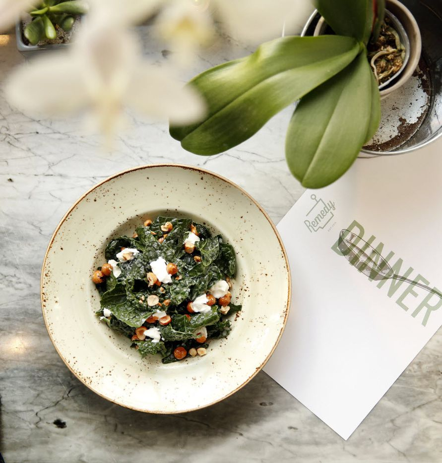 Lacinato kale salad with house-made ricotta and candied hazelnuts