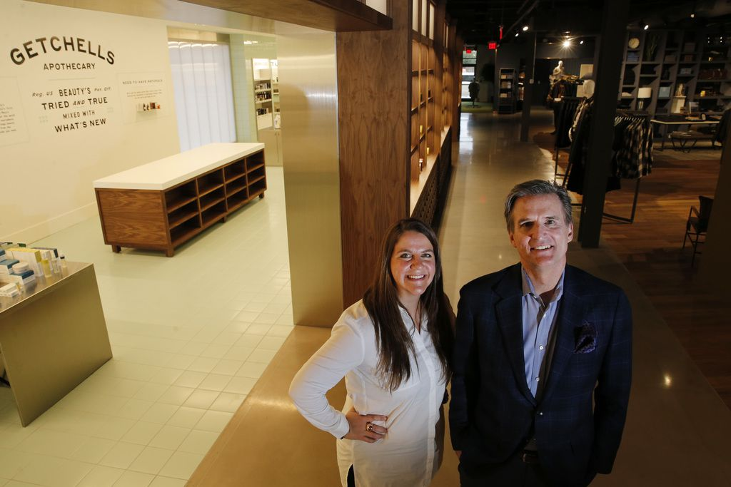Rachel Shechtman, Macy's brand experience officer, and Macy's chairman and CEO Jeff Gennette are shown inside the Market by Macy's in Southlake. (Vernon Bryant/The Dallas Morning News)