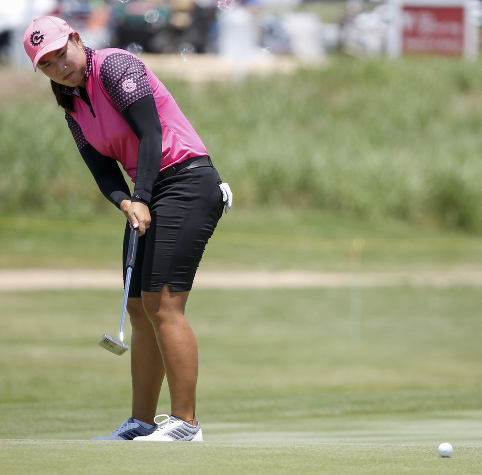 Professional golfer Min-G Kim watches her putt on the 18th green during round one of the LPGA VOA Classic on Thursday, July 1, 2021, in The Colony, Texas. Kim finished the first day at six under par. (Elias Valverde II/The Dallas Morning News)