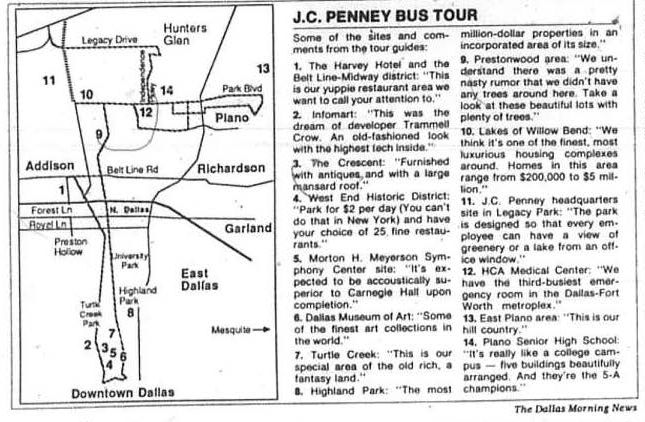 Map of J.C. Penney bus tour, Sep. 24, 1987.