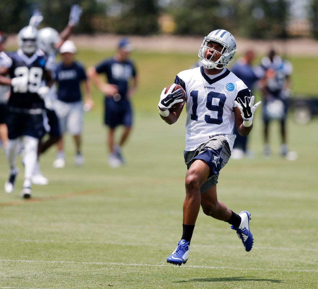 Dallas Cowboys wide receiver Brice Butler (19) isn't happy with a call after a pass completion during OTA's at the Star in Frisco on Wednesday, May 31, 2017. (Vernon Bryant/The Dallas Morning News)