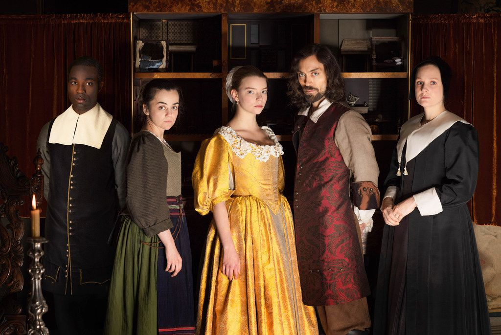 Shown from left to right: Paapa Essiedu as Otto, Hayley Squires as Cornelia, Anya Taylor-Joy as Nella, Alex Hassell as Johannes and Romola Gara as Marin in The Miniaturist, coming to PBS on Sept. 9, 2018.
