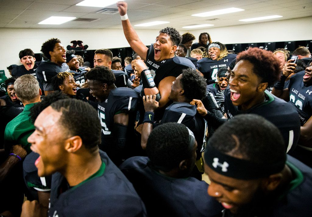 Mansfield Lake Ridge celebrates a 34-29 win over Desoto after their District 7 6A high school football game on Thursday, September 27, 2018 at Vernon Newsom Stadium in Mansfield, Texas. (Ashley Landis/The Dallas Morning News)