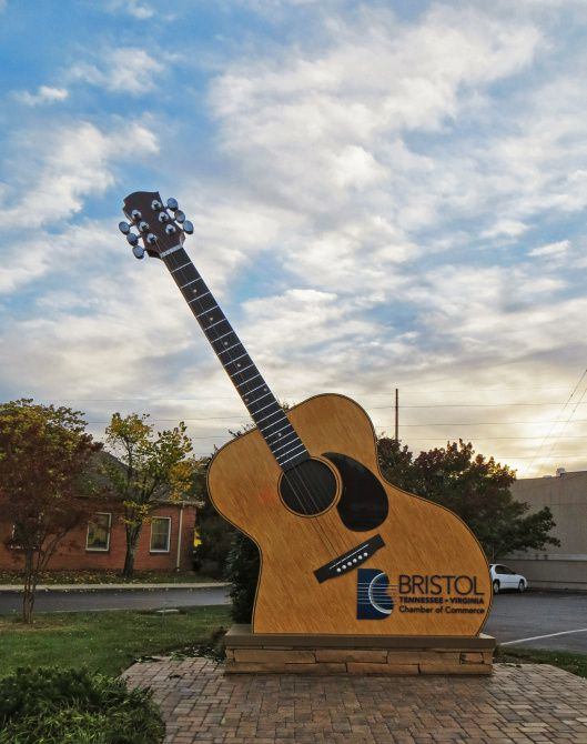 A super-sized guitar in Bristol, Tennessee, marks a patio that also serves as an outdoor stage for music events