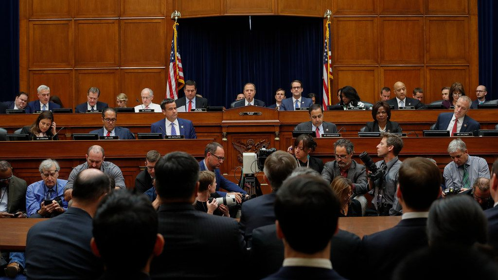 Chairman Rep. Adam Schiff, D-Calif., center, makes an opening statement before questioning Acting Director of National Intelligence Joseph Maguire before the House Intelligence Committee on Capitol Hill in Washington, Thursday, Sept. 26, 2019.