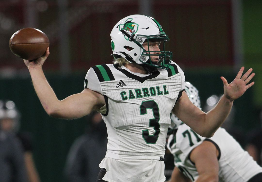 Southlake quarterback Quinn Ewers (3) passes downfield during first quarter action of their game against Arlington Martin. The two teams played their Class 6A Division l Region l semifinal football playoff game held at Globe Life Park in Arlington on December 24, 2020.