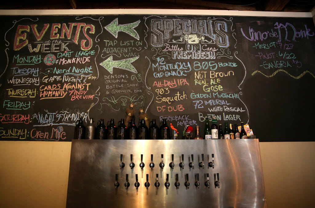 The draft wall at the Bearded Monk in Denton includes 21 options.