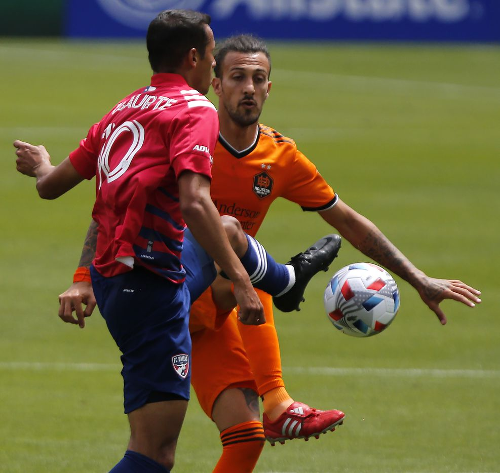 FC Dallas midfielder Andres Ricaurte (10) and Houston Dynamo forward Maximiliano Urruti (37) compete for the ball during the first half as FC Dallas hosted the Houston Dynamo at Toyota Stadium in Frisco on May 8, 2021. (Stewart F. House/Special Contributor)