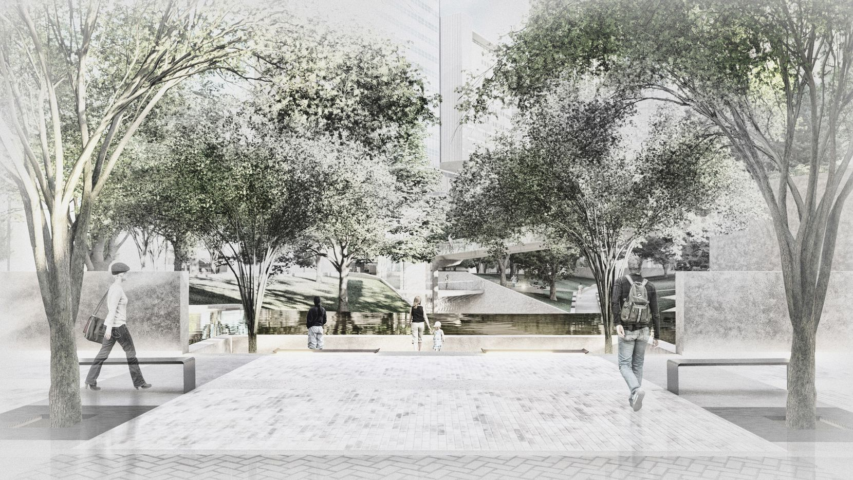 A proposed plaza along Ervay Street, with views opening into Thanks-Giving Square.
