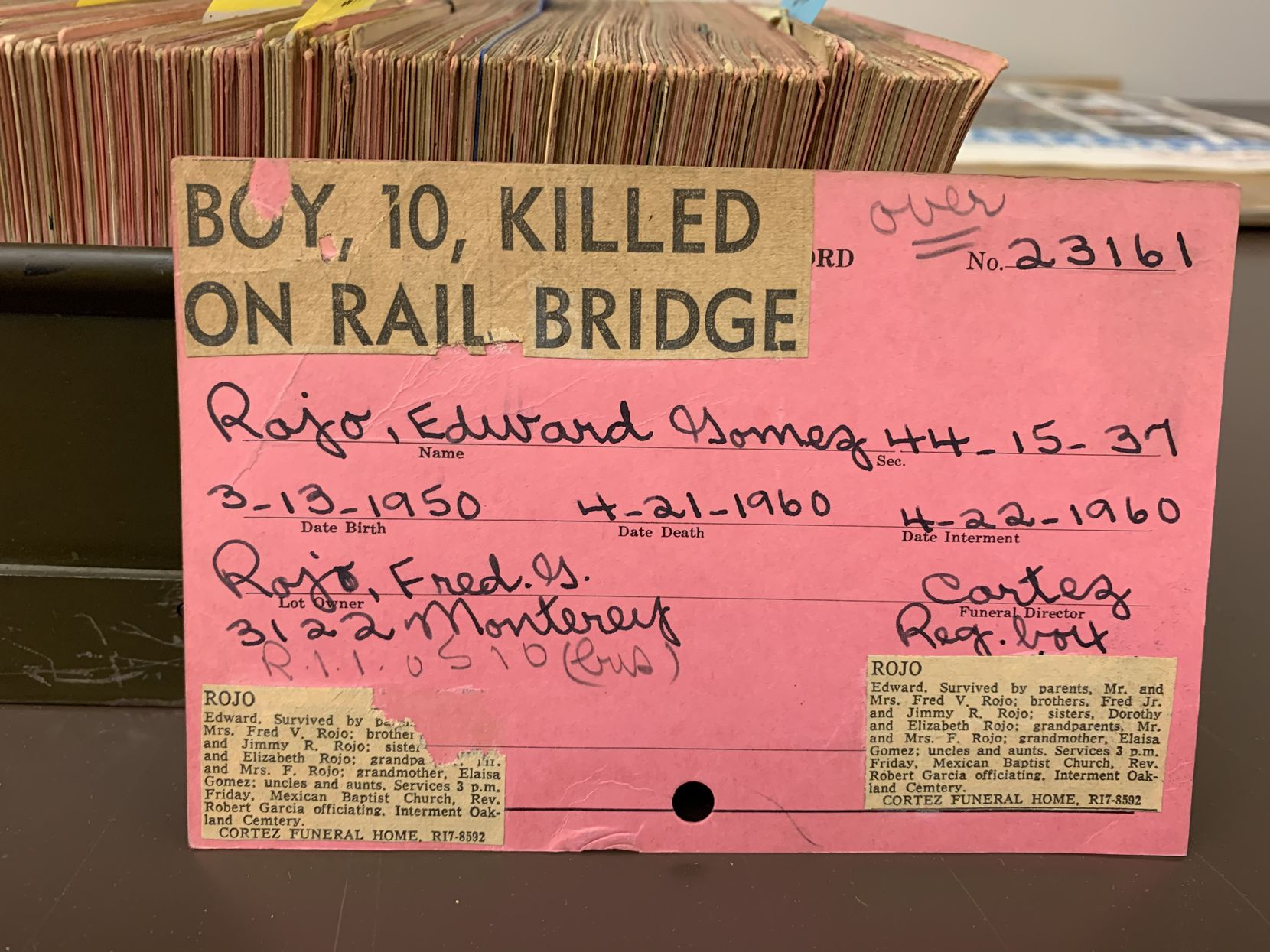 One of the almost 36,000 interment cards in the Oakland Cemetery collection now being stored at the downtown Dallas central library