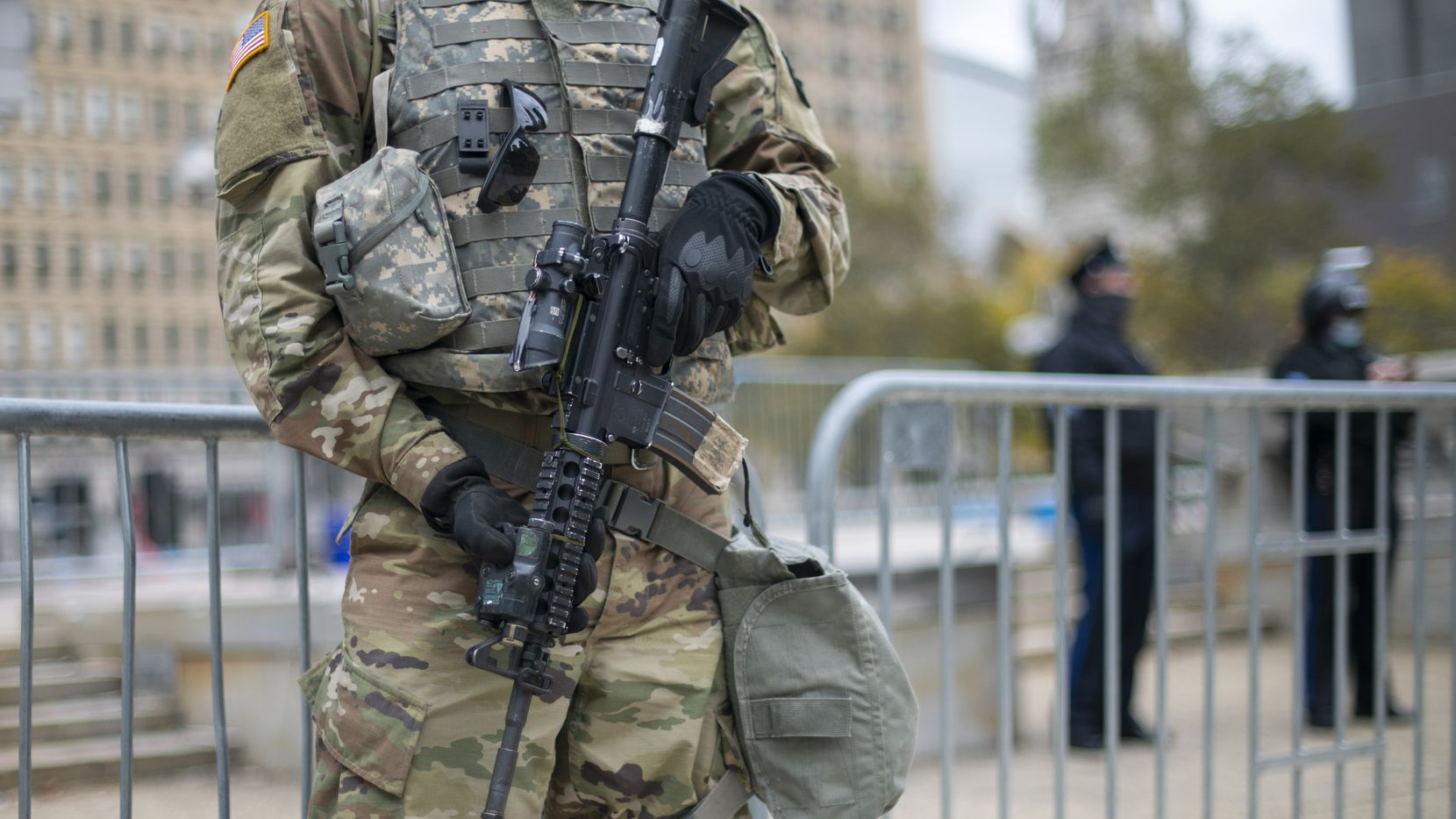 The National Guard monitors activity near Philadelphia City Hall on October 30, 2020 in response to unrest after the death of Walter Wallace Jr. The 27-year-old father of nine children was fatally shot by at least 14 rounds. Officers claimed he was armed with a knife.