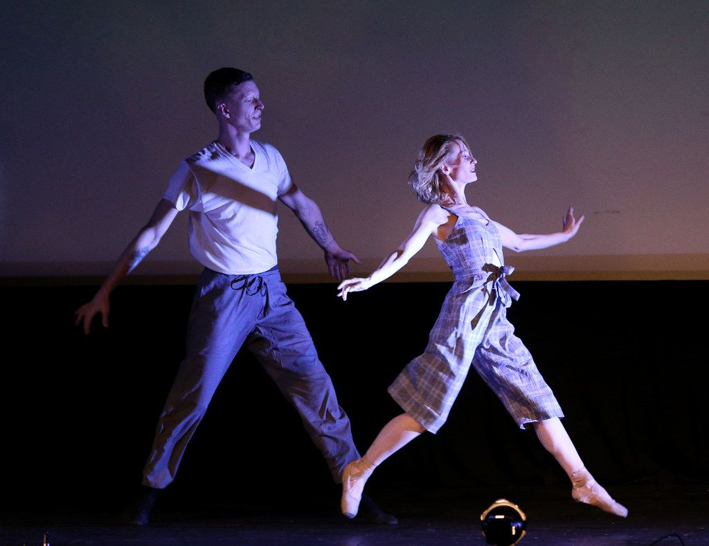 Dallas Neo-Classical Ballet's Michael Stone (left) and Lea Zablocki in artistic director Emilie Skinner's Revenir at the Texas Theatre.