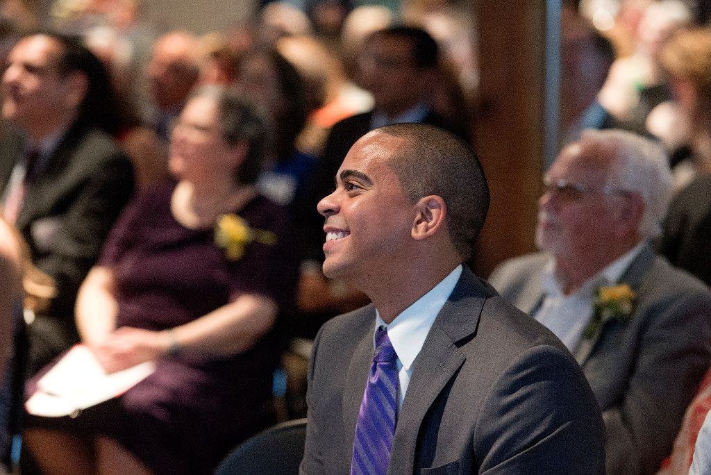 Reporter and anchor at KXAS-TV Cory Smith prepares to take the stage to emcee the Press Club of Dallas' 2017 North Texas Legends Awards ceremony on June 3 at The Sixth Floor Museum in Dallas.