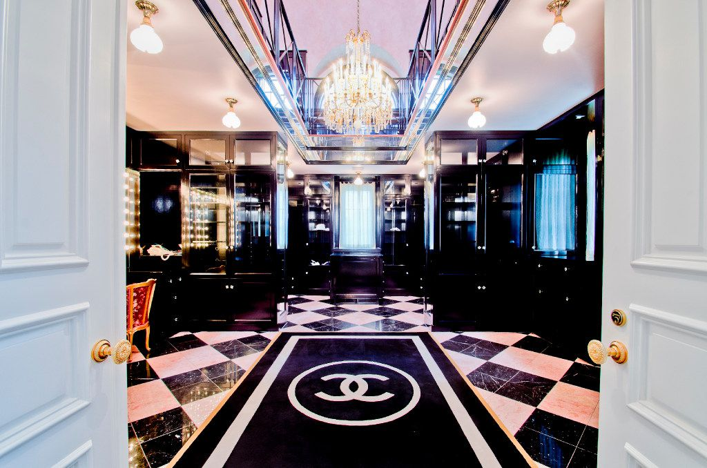 The Chanel-inspired master bath at Champ d'Or, an estate in Hickory Creek.