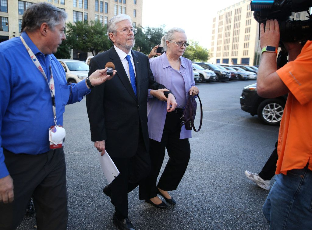 Former Dallas County Schools board president Larry Duncan leaves Earle Cabell Federal Building with his wife, Susan Duncan, after his sentencing on Tuesday, April 9, 2019. Duncan was sentenced to three years' probation for tax evasion, six months home confinement and must pay $45,163 in restitution.
