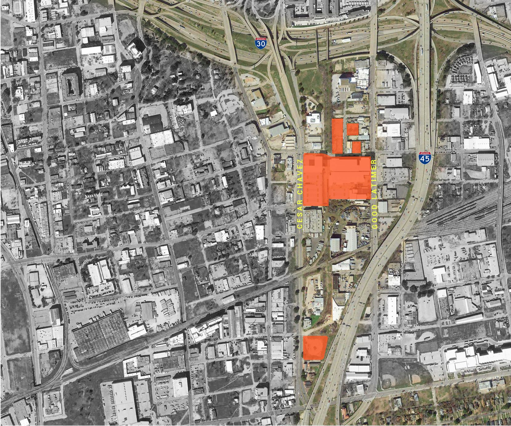 Investor Mike Hoque bought the properties in orange along Cesar Chavez Boulevard.