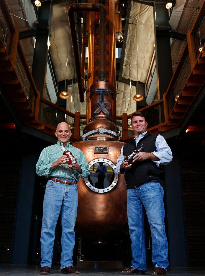 Leonard Firestone (left) and Troy Robertson inside their namesake distillery in 2017.