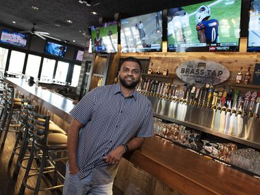 Co-owner Ridham Bhatt and his restaurant bar The Brass Tap in Rockwall