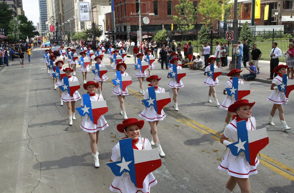 The Trinity Valley Community College Cardettes entertained the crowd during the annual State Fair of Texas opening day parade in downtown Dallas on Sept. 26, 2014.
