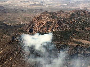 A wildfire was blazing across hundreds of acres at Big Bend National Park on Saturday, April 10, 2021.