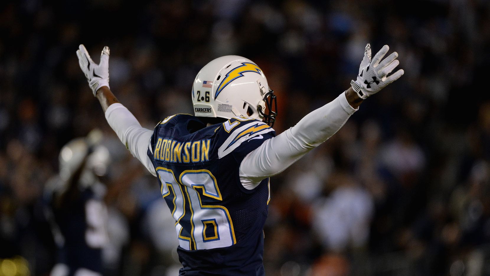 SAN DIEGO, CA - NOVEMBER 09:  Patrick Robinson #26 of the San Diego Chargers celebrates while playing the Chicago Bears at Qualcomm Stadium on November 9, 2015 in San Diego, California.  (Photo by Donald Miralle/Getty Images)