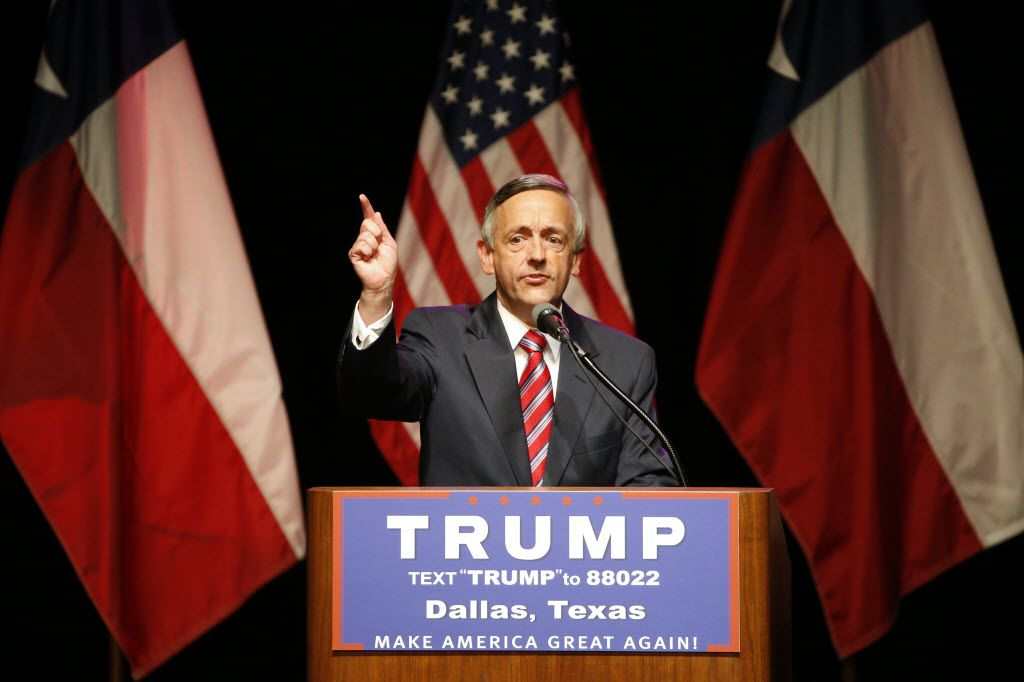 The senior pastor of First Baptist Church in Dallas, Robert Jeffress, speaks during the Donald Trump campaign rally at Gilley's Dallas in June 2016.