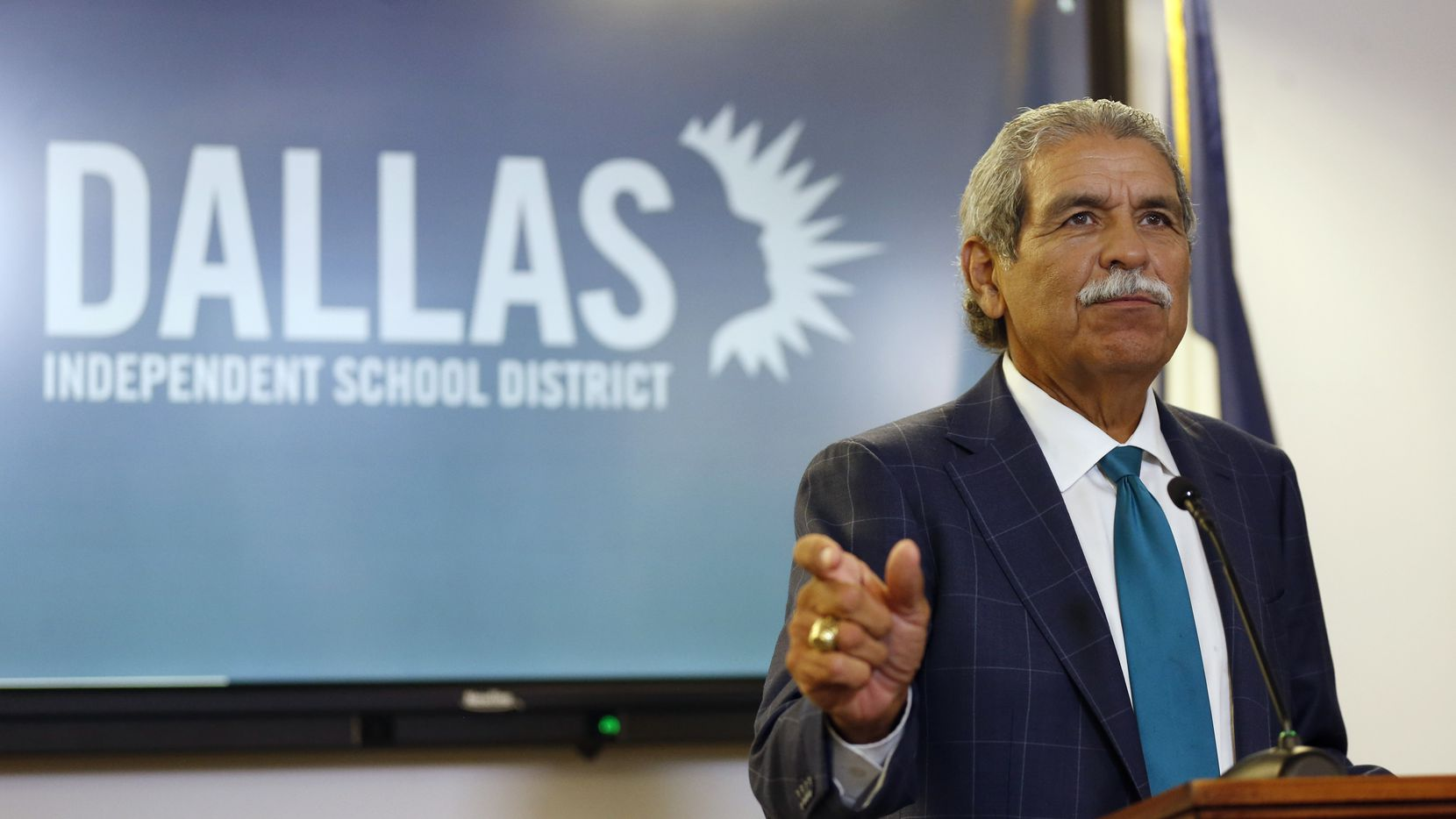 DISD superintendent Michael Hinojosa speaks to the media about starting the school year virtually during a press conference at Dallas ISD headquarters in Dallas on Thursday, August 20, 2020. Among other measures, voters approved $270 million in bonds for technology and connectivity this week. (Vernon Bryant/The Dallas Morning News)