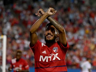 FC Dallas forward Jesus Ferreira (9) celebrates his goal in the second half during an MLS match between FC Dallas and Austin FC, Saturday, August 7, 2021, in Frisco, Texas. (Matt Strasen/Special Contributor)