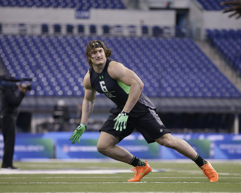 Ohio State defensive lineman Joey Bosa runs a drill at the NFL football scouting combine on Tuesday, March 1, 2016, in Indianapolis. (AP Photo/Darron Cummings)