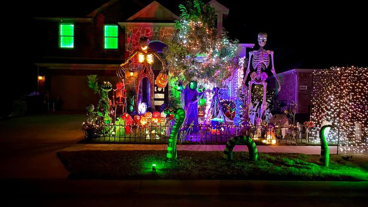"""The Burkman Holiday Home is located at 3809 Hazelhurst Dr. in Frisco. Last year's Christmas-focused filming for ABC's """"Great Christmas Light Fight"""" TV show clashed with the Burkmans' Halloween schedule, so this year they've returned to make the spooky season bigger and better than ever before."""