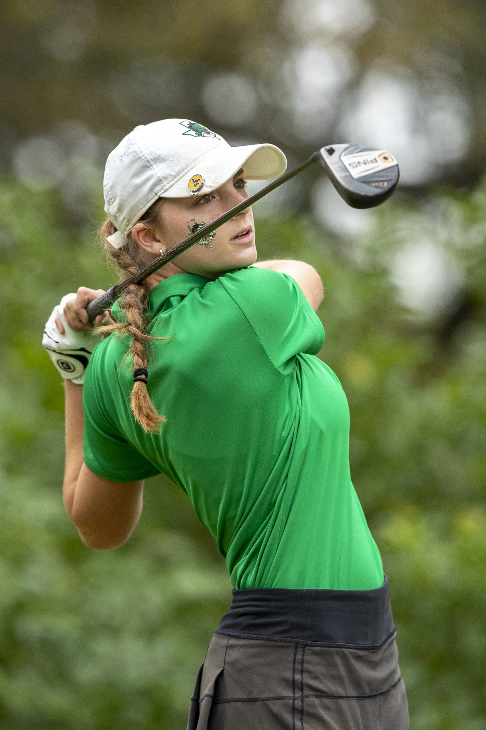 Southlake Carroll's Morgan Becker hits from the 1st tee box during the final day of the UIL Class 5A girls golf tournament in Georgetown, Tuesday, May 11, 2021. (Stephen Spillman/Special Contributor)