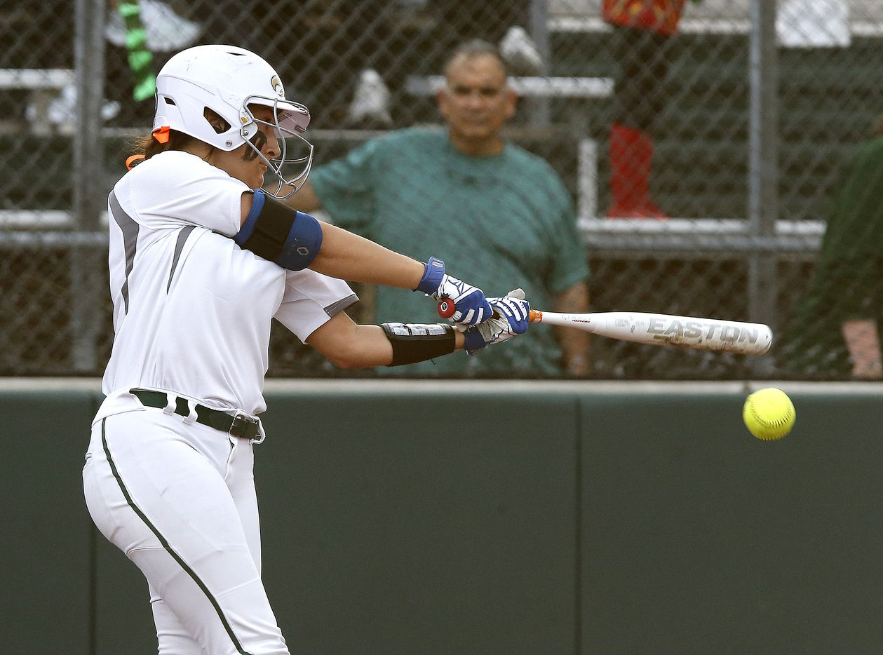 Prosper third baseman Gabby Coffey (10) makes contact in the first inning as Prosper High School hosted Ft. Worth Boswell High School in game two of a best of three series 6A Region I semifinal softball game in Prosper on Thursday night, May 20, 2021. (Stewart F. House/Special Contributor)