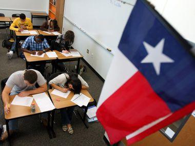 Texas education classroom with a flag