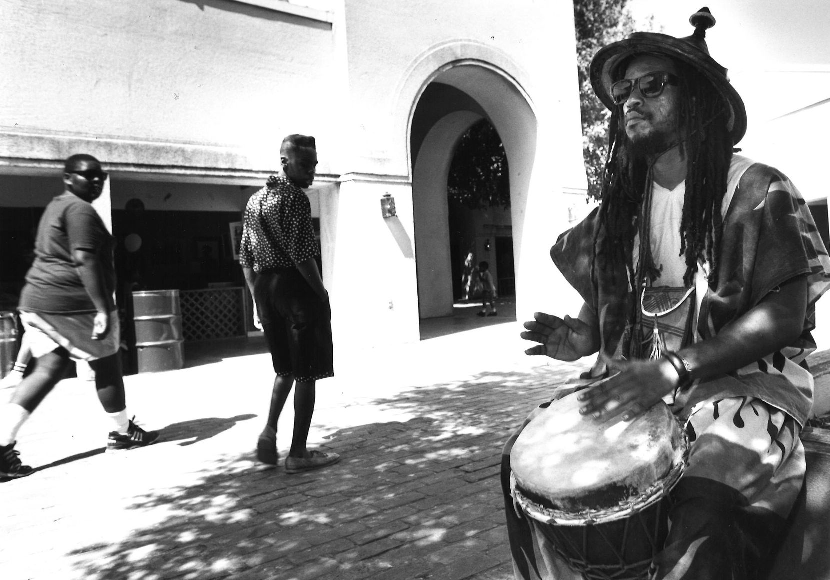 Gaifi Aladfia played his djembe drum at a Juneteenth celebration at Fair Park