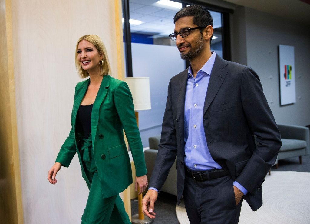 Ivanka Trump, Advisor to the President, and Sundar Pichai, CEO of Google, host a roundtable discussion with students and administrators involved with Google's online training program on Thursday, October 3, 2019 at El Centro College in Dallas. Google announced they are expanding their online IT Support Professional Certificate. (Ashley Landis/The Dallas Morning News)