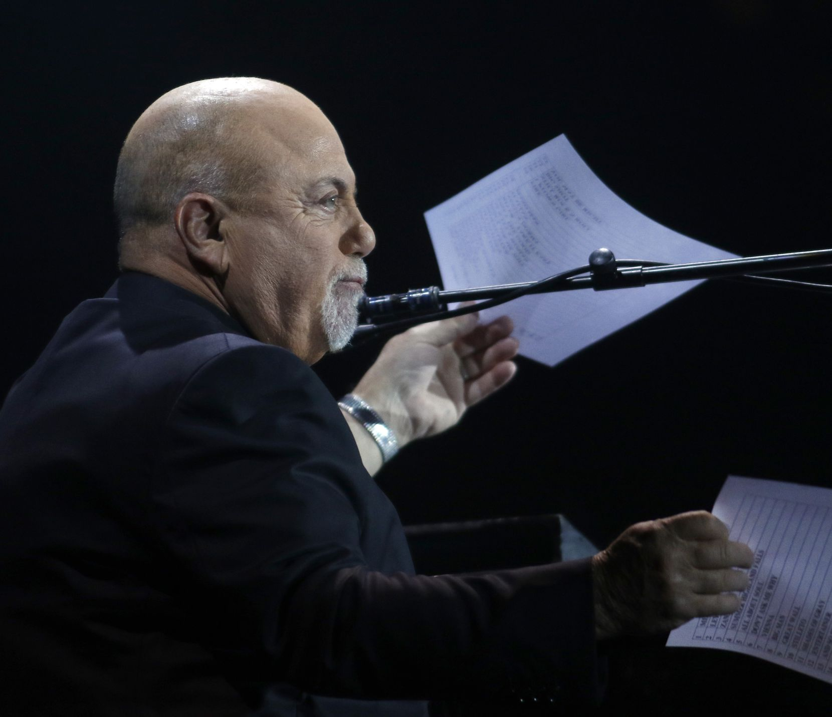 Billy Joel converses with a capacity crowd allowing them to voice their opinion and vote for what tunes he would perform. The popular entertainer performed to the delight of fans at Globe Life Park in Arlington on Oct. 12, 2019.