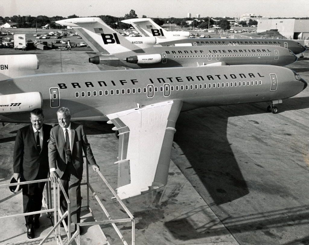 Braniff International received jets valued at $20 million on June 29, 1970. Shown are Braniff officials R.V. Carleton (left) and Herman Rumsey.