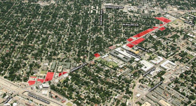 The real estate stretches for about a mile between North Central Expressway and Ross Avenue.