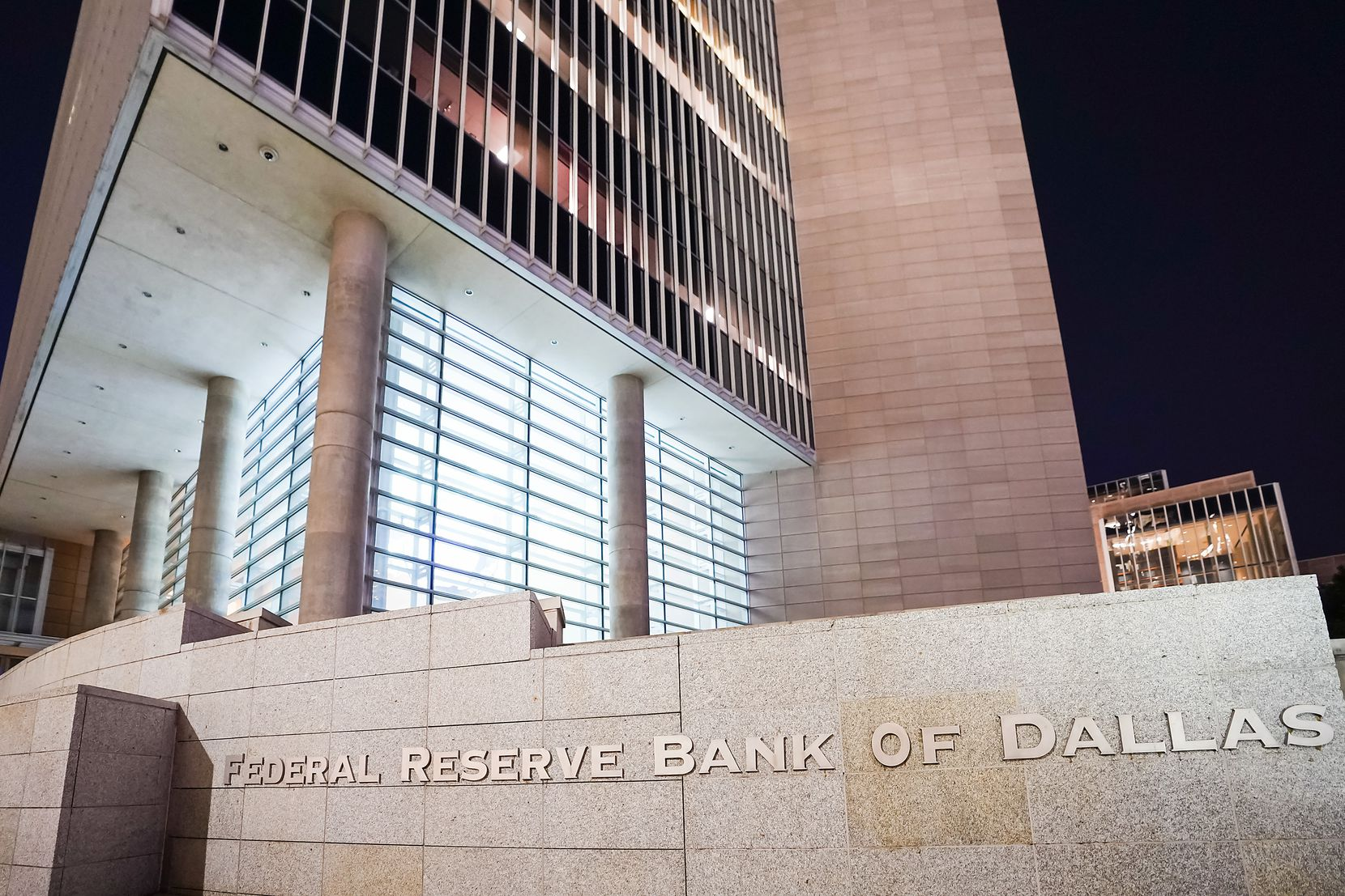 Exterior view of the Federal Reserve Bank of Dallas on Thursday, Aug. 13, 2020, in Dallas. (Smiley N. Pool/The Dallas Morning News)