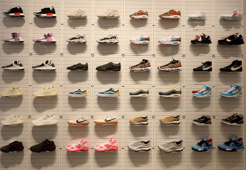 A display of running shoes from Stadium Goods. (Anja Schlein/Special Contributor)