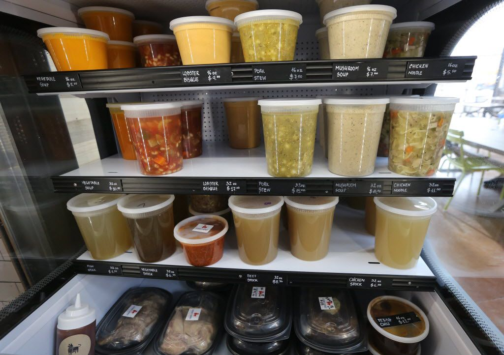 Some of the fresh soups and stocks for sale at Stocks and Bondy