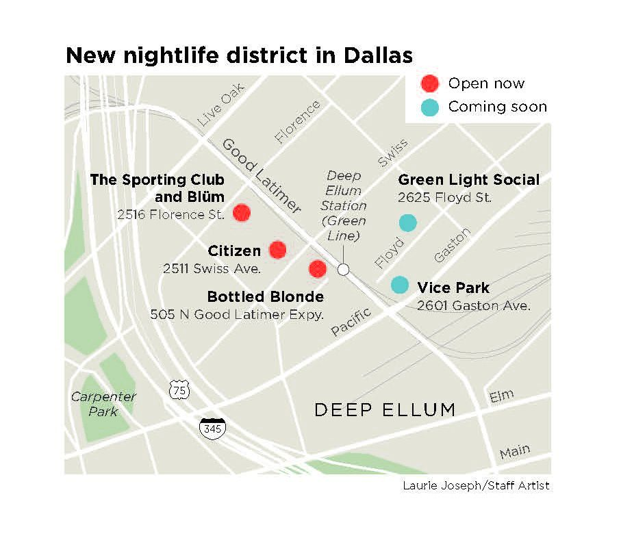 The new clubs opening in a corner of Deep Ellum are situated on either side of Good Latimer, separated by DART tracks.