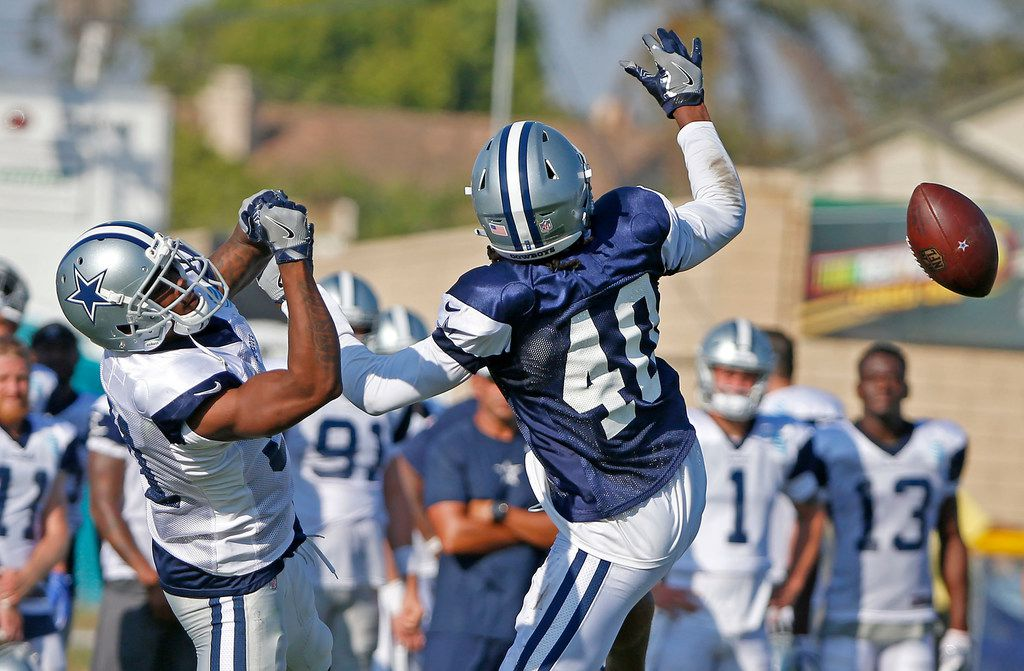 Dallas Cowboys cornerback Charvarius Ward (40) breaks up a pass intended for wide receiver K.D. Cannon during the afternoon practice at the training camp in Oxnard, Calif., Tuesday, July 31, 2018. (Jae S. Lee/The Dallas Morning News)