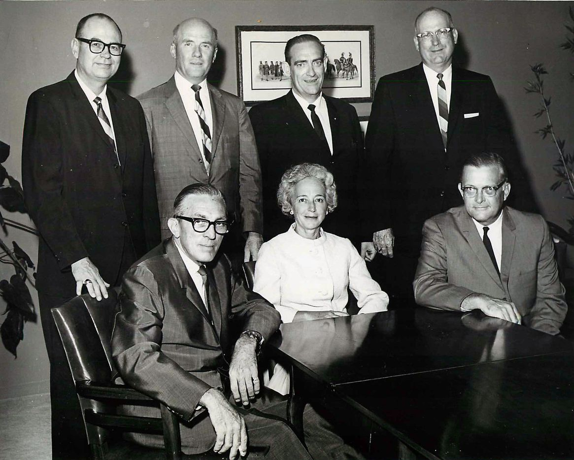 Dallas County Junior College Board of Trustees circa 1965. Seated, from left: Robert L. Thornton Jr., Margaret McDermott, Franklin E. Spafford. Standing, from left: Durwood A. Sutton, Dr. Frank J. Altick, Loncy E. Leake and Carie E. Welch.