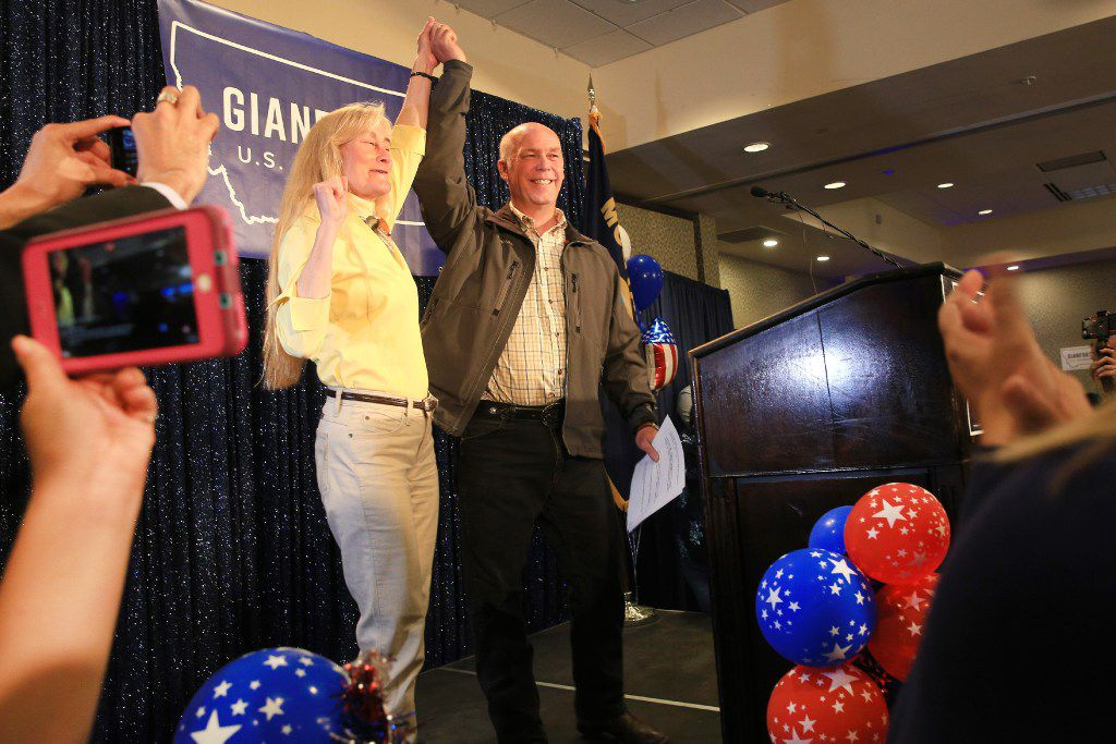 Republican Greg Gianforte celebrates with supporters after being declared the winner at a election night party for Montana's special House election against Democrat Rob Quist. Gianforte won one day after being charged for assaulting a reporter.