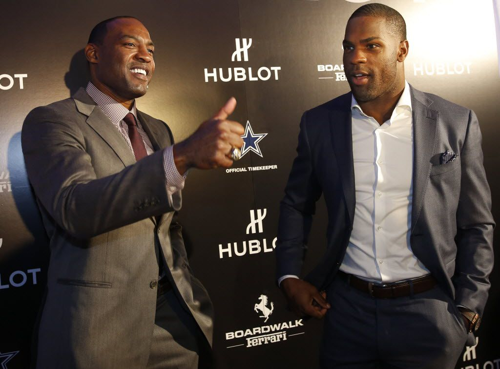 Dallas running back DeMarco Murray, right, and former Dallas Cowboys safety Darren Woodson, left,  make an appearance at Boardwalk Ferrari in Plano as part of a public relations event sponsored by Hublot, the Official Luxury Watch & Timekeeper of the Dallas Cowboys, on Tuesday, February 10, 2015. (Louis DeLuca/The Dallas Morning News)