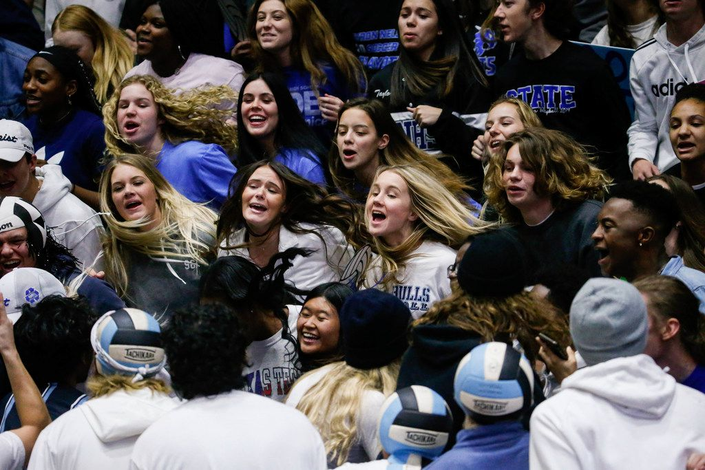 Byron Nelson student section before the first set of a class 6A volleyball state semifinal match against Schertz Clemens at the Curtis Culwell Center in Garland, on Friday, November 22, 2019. Nelson won the first set 32-30. (Juan Figueroa/The Dallas Morning News)