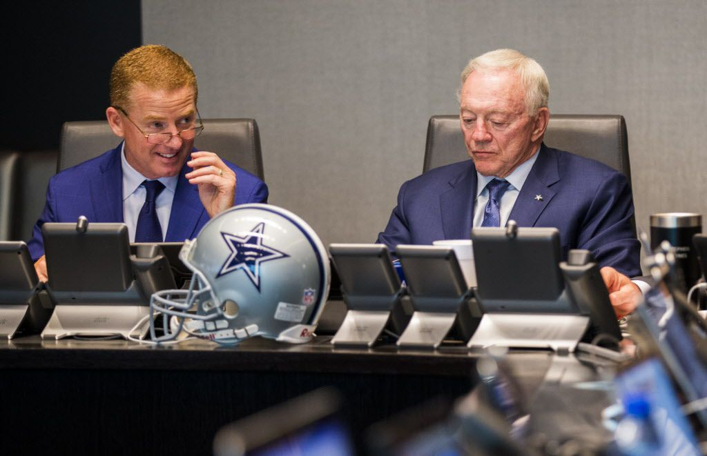 Dallas Cowboys head coach Jason Garrett talks with owner Jerry Jones in the war room during round one of the 2017 NFL Draft on Thursday, April 27, 2017 at The Star in Frisco, Texas. (Ashley Landis/The Dallas Morning News)