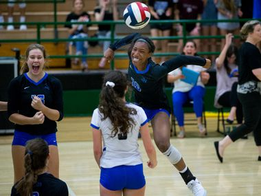 FILE - Byron Nelson outside hitter Charitie Luper (10) celebrates with her teammates during a district volleyball game on Tuesday, Sept. 18, 2018, at Carroll Senior High School in Southlake. (Shaban Athuman/ The Dallas Morning News)